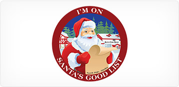Santa's Good List Sticker Badge